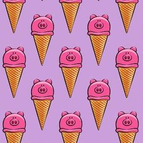 pig icecream cones on purple