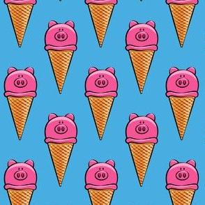 pig icecream cones on blue