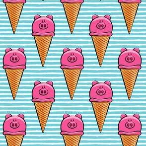 pig icecream cones -  med blue