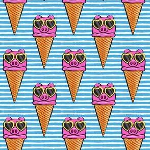 pig icecream cones  (with glasses) blue stripes