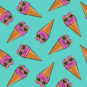 pig icecream cones toss (with glasses) teal