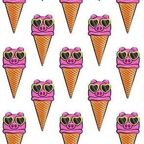 pig icecream cones (with glasses) white
