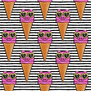 pig icecream cones (with glasses) black stripes