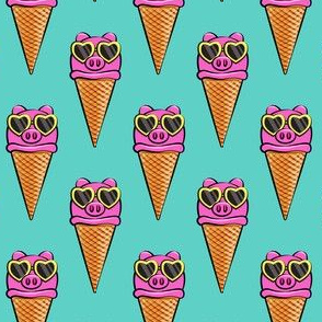 pig icecream cones (with glasses) teal