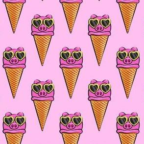 pig icecream cones (with glasses) pink