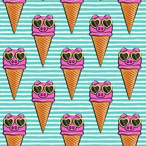 pig icecream cones (with glasses) teal stripes