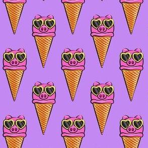 pig icecream cones (with glasses) purple