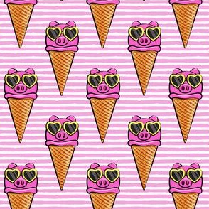 pig icecream cones (with glasses) pink stripes