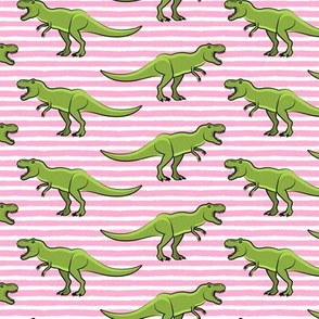 t-rex  - dinosaur  on pink stripes
