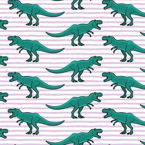 t-rex - dinosaur on light purple stripes