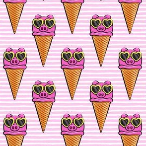 pig icecream cones (with glasses) light pink