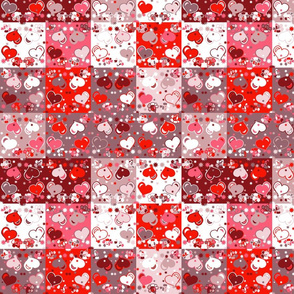 Patchwork background with red hearts