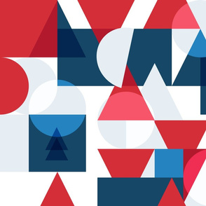 Bauhaus movement. Geometry red blue white colors pattern.  Trendy bauhaus style graphic design.