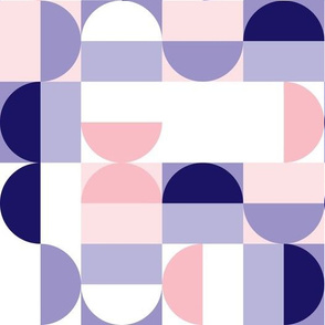 Bauhaus Minimal Semi Circle Geometric Pattern 2 - Blue and Pink
