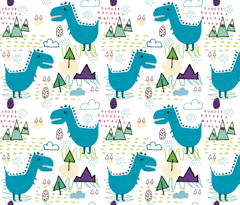 T-rex party blue fabric by bruxamagica on Spoonflower - custom fabric