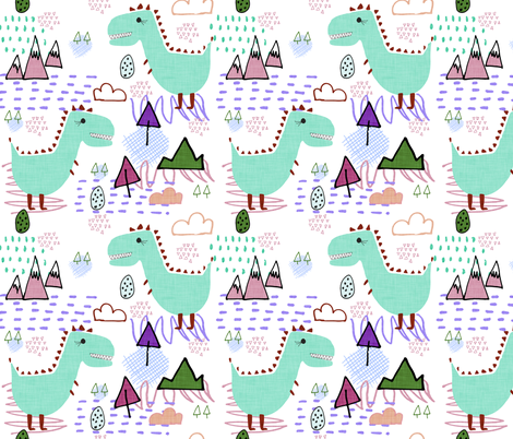 T-rex party Green fabric by bruxamagica on Spoonflower - custom fabric
