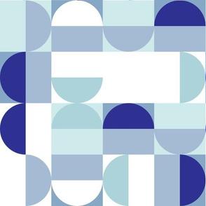 Bauhaus Minimal Semi Circle Geometric Pattern 3