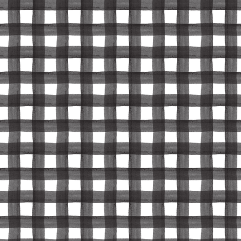 Black Watercolor Gingham fabric by montgomeryfest on Spoonflower - custom fabric