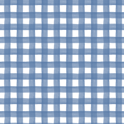 Blue Watercolor Gingham fabric by montgomeryfest on Spoonflower - custom fabric