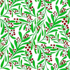 A Scatter of Festive Berry Sprigs - Large Scale