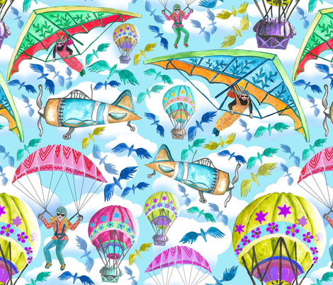 Let's touch the sky, by Susanne Mason fabric by susanne_mason_ on Spoonflower - custom fabric
