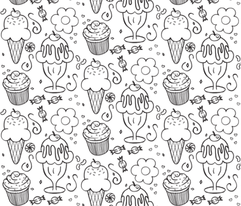 The 4 C's / Cookies, Cupcakes, Candy & Cones  fabric by franbail on Spoonflower - custom fabric