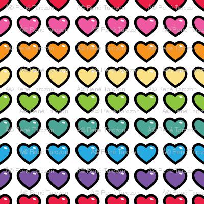 aloha hearts rainbow 1 inch