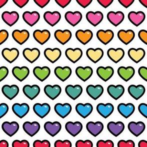 aloha hearts rainbow 1 inch half drop