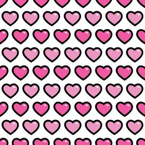 aloha hearts pink 1 inch half drop