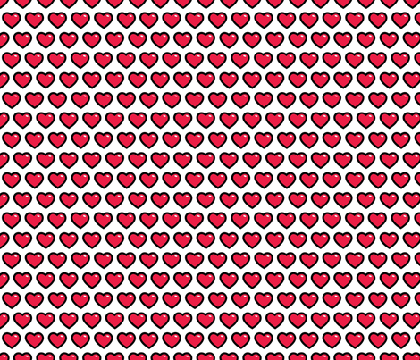 aloha hearts red 1 inch half drop fabric by alohababy on Spoonflower - custom fabric