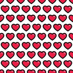 aloha hearts red 1 inch half drop