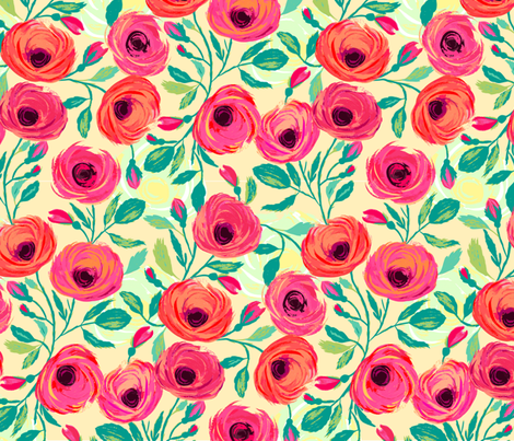 Painted Rose Garden Yellow fabric by jill_o_connor on Spoonflower - custom fabric