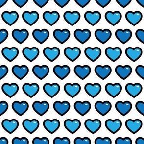 aloha hearts blue 1 inch half drop