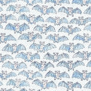 Tiny Blue Batty Bats | Blue Polka Dots on White