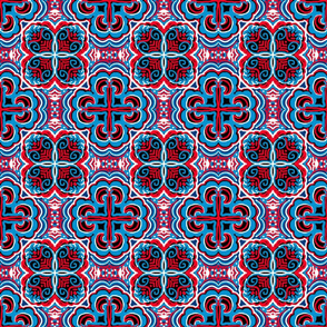 Red, White and Blue, Quatrefoil, small