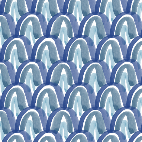 Blue Watercolor Scales fabric by montgomeryfest on Spoonflower - custom fabric