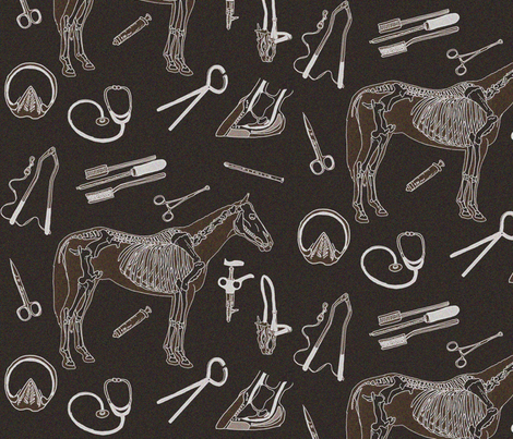horse doctor 12x12 brown fabric by leroyj on Spoonflower - custom fabric