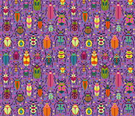Bright Beautiful Beetles fabric by willowbirdstudio on Spoonflower - custom fabric