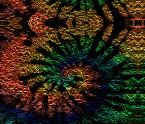 Tie dye folia spiral. Circle rainbow dark fantazy fabric by ethnic_design on Spoonflower - custom fabric