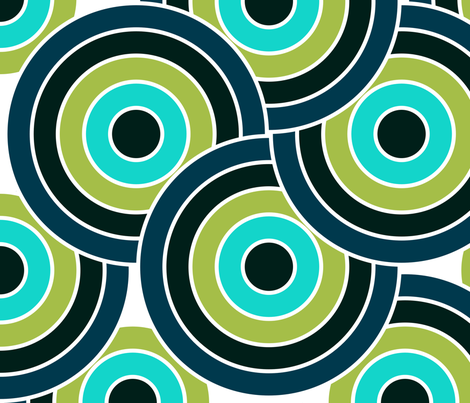 Circles in Blue and Green Ocean Colors by kedoki fabric by kedoki on Spoonflower - custom fabric