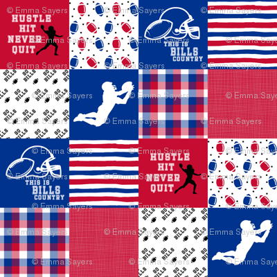 Football//Hustle Hit Never Quit - Bills - Wholecloth Cheater Quilt