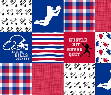 Football//Hustle Hit Never Quit - Bills - Wholecloth Cheater Quilt fabric by longdogcustomdesigns on Spoonflower - custom fabric