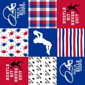 Football//Hustle Hit Never Quilt - Bills - Wholecloth Cheater Quilt - Rotated