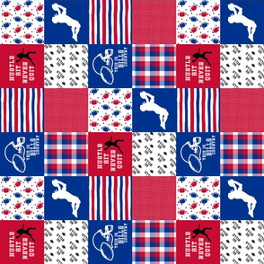3 inch Football// Hustle Hit Never Quit - Bills- Wholecloth Cheater Quilt - Rotated