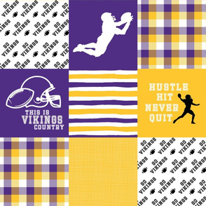 Football//Hustle Hit Never Quit - Vikings - Wholecloth Cheater Quilt