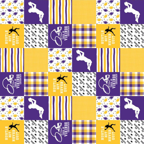 3 inch Football//Hustle Hit Never Quit - Vikings - Wholecloth Cheater quilt - Rotated