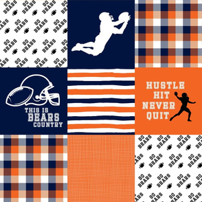 Football//Hustle Hit Never Quit - Bears - Wholecloth Cheater Quilt
