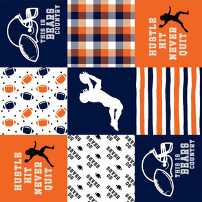 Football//Hustle Hit Never Quit - Bears - Wholecloth Cheater Quilt - Rotated