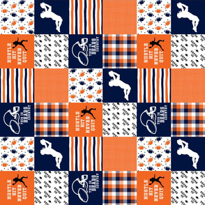 3 inch Football//Hustle Hit Never Quit - Bears - Wholecloth Cheater Quilt - Rotated