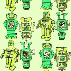 Playful Wind Up Tin Toy Robots in green